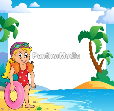 beach theme frame with girl swimmer