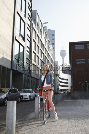 germany duesseldorf happy blond woman with