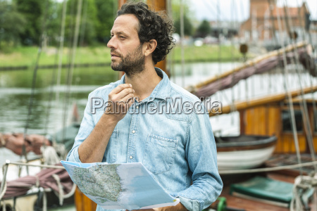 germany luebeck man at landing stage