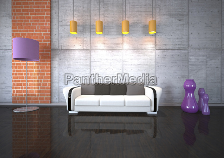 couch in living room with lights