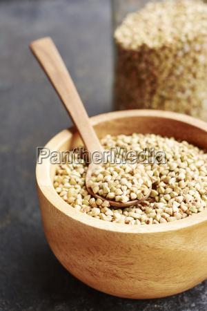 hemp seeds in a wooden bowl
