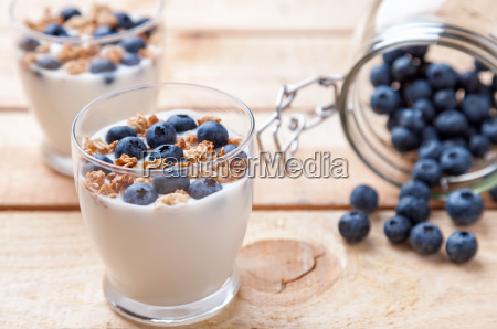 nutritious and healthy yoghurt with blueberries
