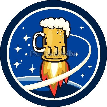 beer mug rocket ship space circle
