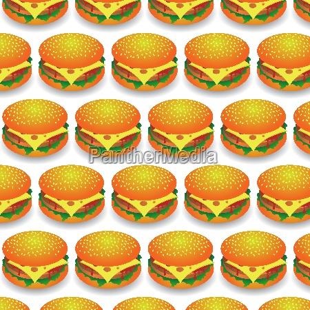 fast food pattern fresh hamburger background