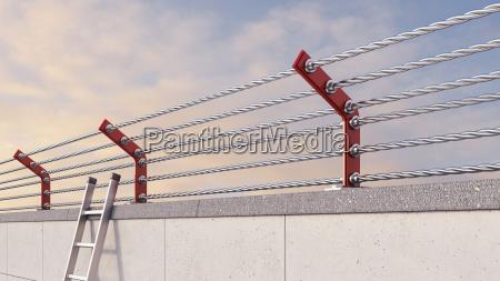 3d rendering ladder leaning against prison