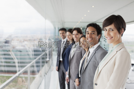 portrait of smiling business people at