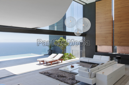 living room and patio of modern
