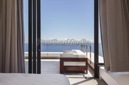 modern balcony overlooking ocean