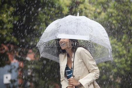 happy woman under umbrella in rain