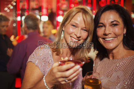 portrait of smiling mature women enjoying