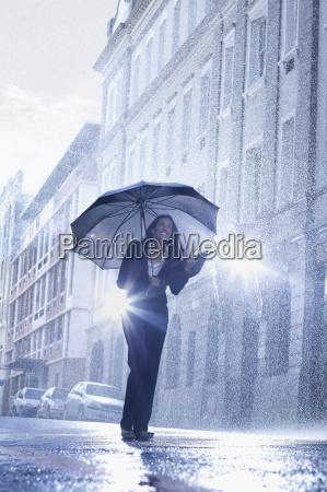 businesswoman standing under umbrella in rainy