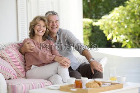 portrait of smiling senior couple enjoying