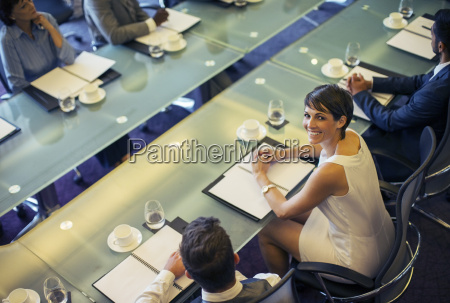 high angle view of smiling businesswoman