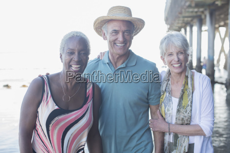 portrait of happy senior friends at
