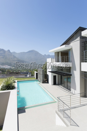modern house and swimming pool with