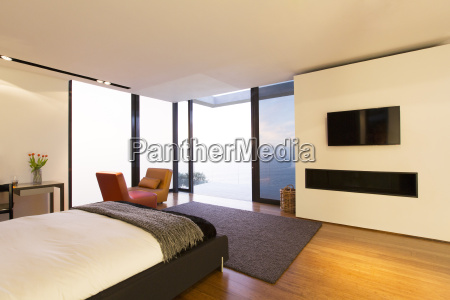 bedroom and glass doors of modern