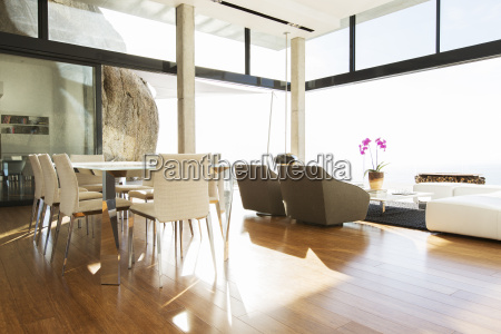 dining and living area in modern