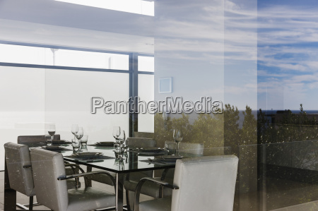modern dining room through window