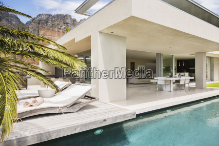 swimming pool and patio of modern