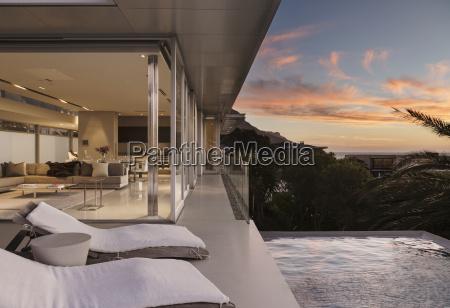 sunset sky outside modern house