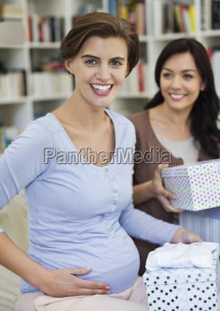 pregnant woman having baby shower