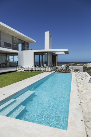 lap pool and lawn outside modern