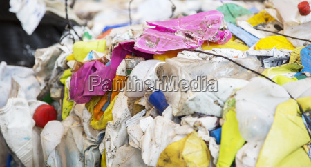 close up of compressed recycling