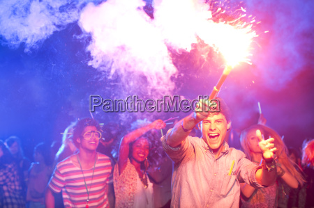 fans with fireworks at music festival