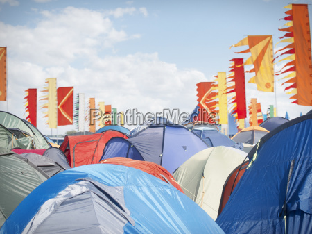 tents crowded at music festival