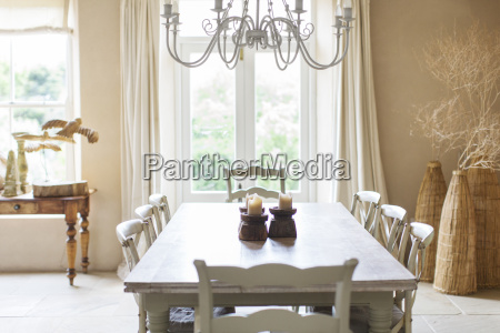 dining table in rustic house