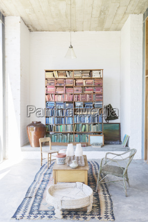 bookshelves and coffee table in rustic