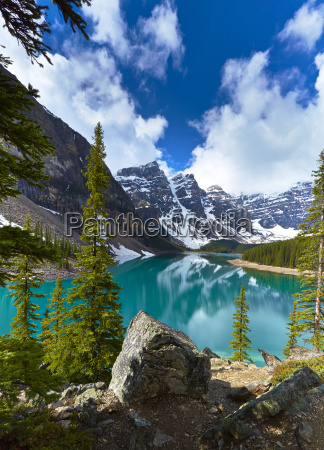 snowy mountains overlooking glacial lake