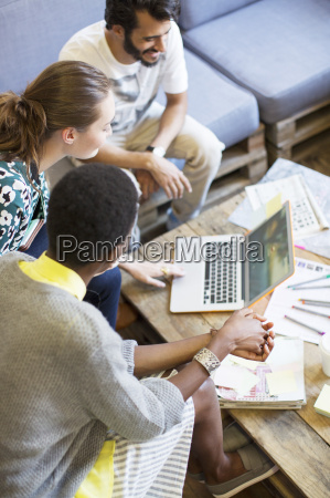 creative business people working at laptop