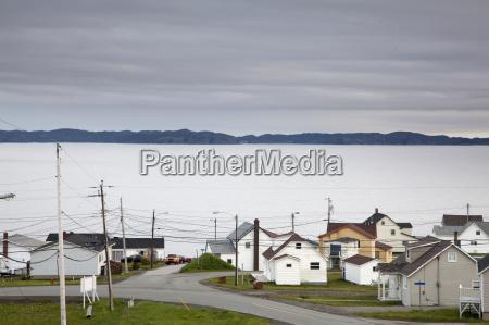 village along ocean