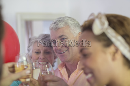family celebration with drinks