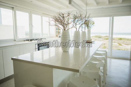 vases on counter in kitchen with