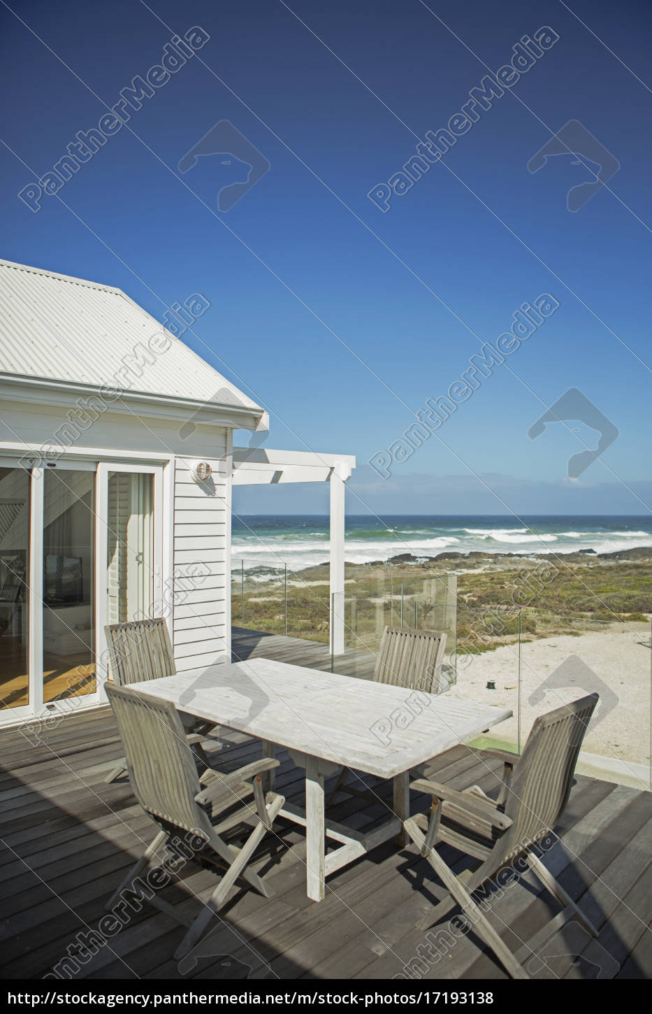 table, and, chairs, on, patio, overlooking - 17193138