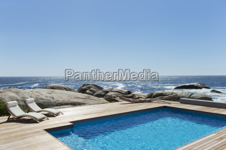swimming pool with ocean view