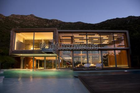 illuminated modern house at night