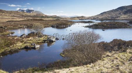 sunny view of remote lake scotland