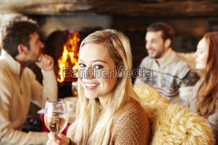woman enjoying drinks with friends