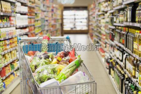 close up of full shopping cart