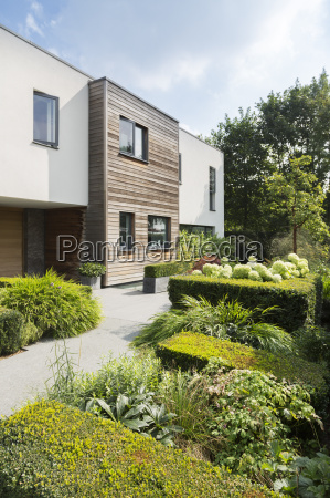 modern house and landscaped garden