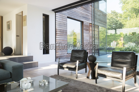 armchairs and coffee table in modern
