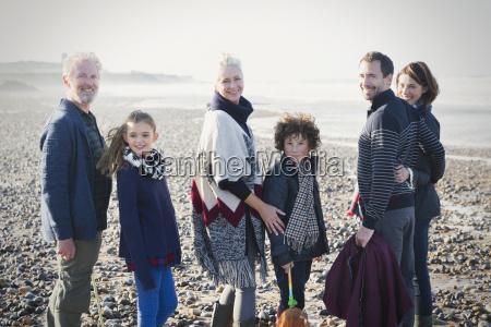 portrait smiling multi generation family on