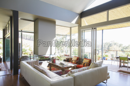 modern living room with large sofas