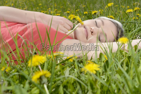 young, woman, on, meadow, , - 17210988