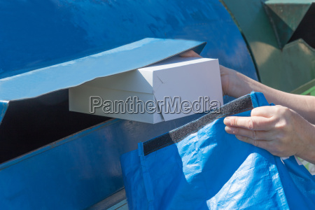 sorting paper hosehold waste concept