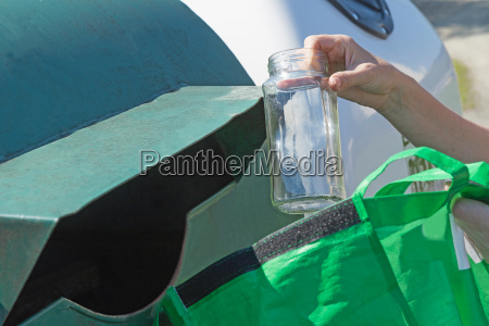 sorting glass hosehold waste concept