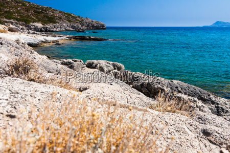 kolymbia beach with the rocky coast
